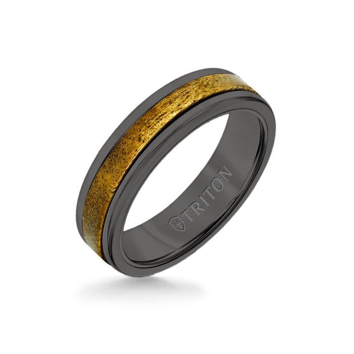 6MM Black Tungsten Carbide Ring - Wood Insert with Round Edge