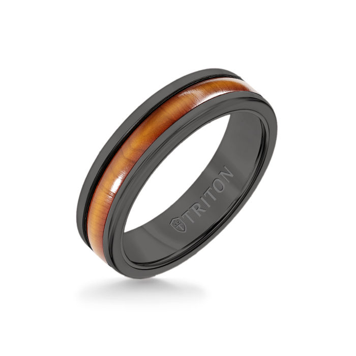 6MM Black Tungsten Carbide Ring - Cherry Dome Insert with Round Edge