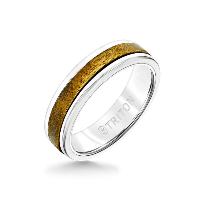 6MM White Tungsten Carbide Ring - Wood Insert with Round Edge