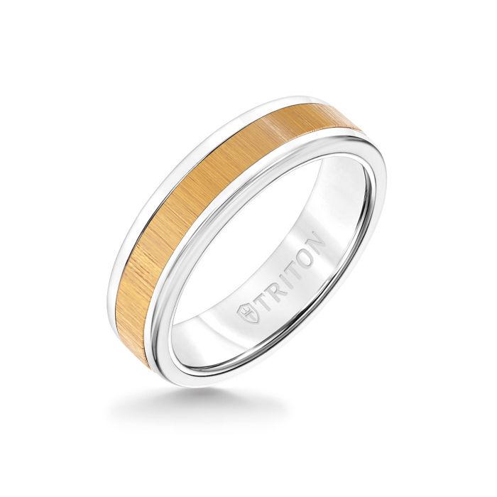 6MM White Tungsten Carbide Ring - Maple Flat Insert with Round Edge