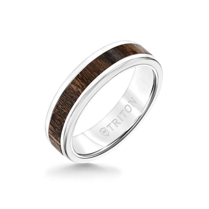 6MM White Tungsten Carbide Ring - Walnut Flat Insert with Round Edge