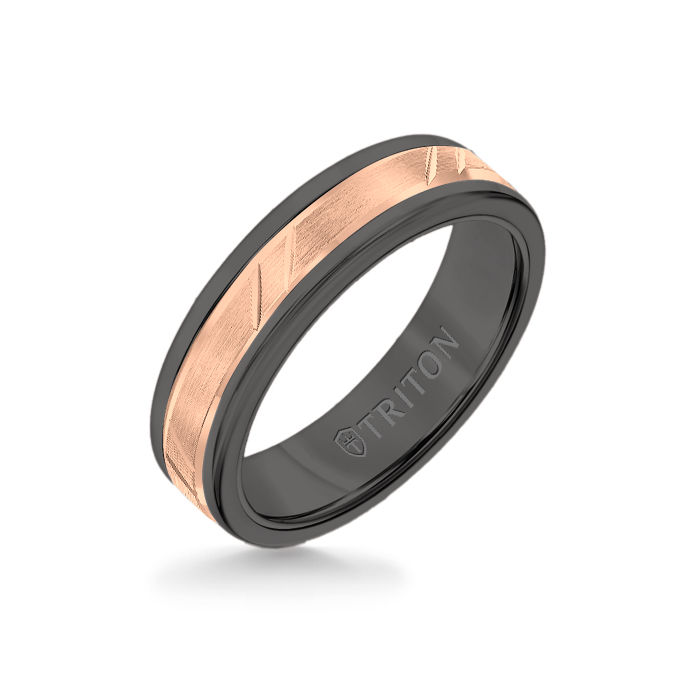 6MM Black Tungsten Carbide Ring - Bevel Diagonal Cut 14K Rose Gold Insert with Round Edge