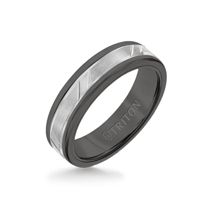 6MM Black Tungsten Carbide Ring - Bevel Diagonal Cut 14K White Gold Insert with Round Edge