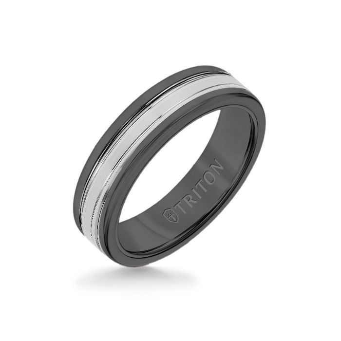 6MM Black Tungsten Carbide Ring - Double Engraved 14K White Gold Insert with Round Edge
