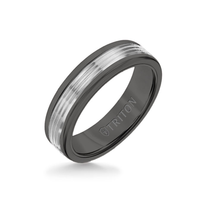 6MM Black Tungsten Carbide Ring - Serrated Engraved 14K White Gold Insert with Round Edge
