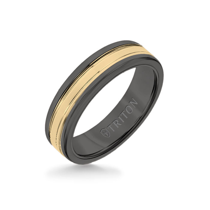 6MM Black Tungsten Carbide Ring - Double Engraved 14K Yellow Gold Insert with Round Edge