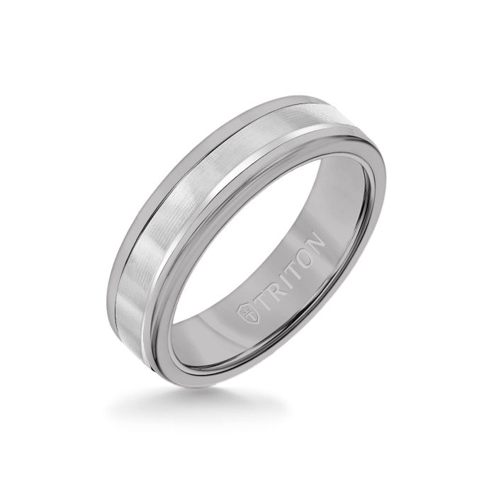 6MM Grey Tungsten Carbide Ring - Linear 14K White Gold Insert with Round Edge