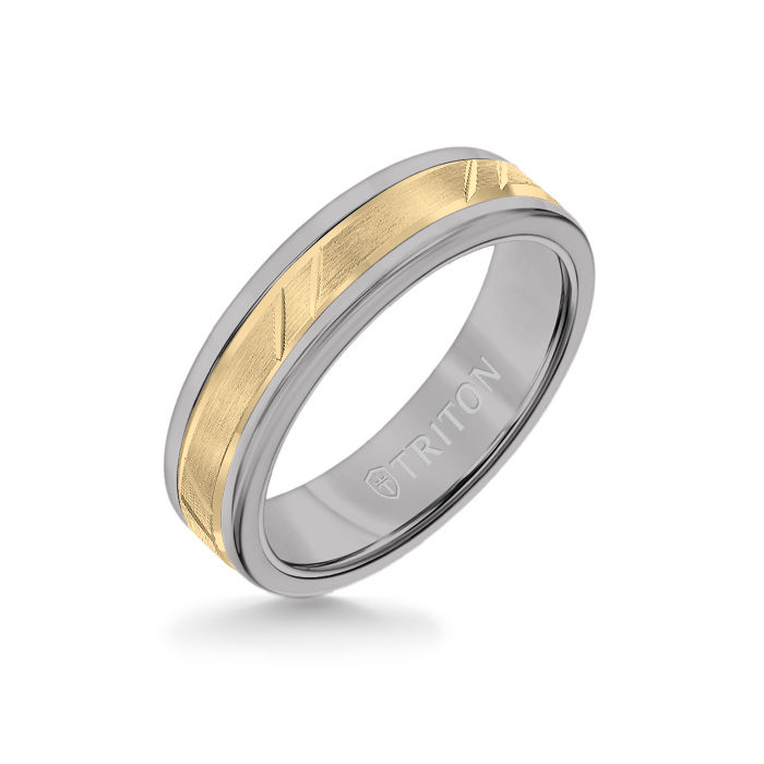 6MM Grey Tungsten Carbide Ring - Bevel Diagonal Cut 14K Yellow Gold Insert with Round Edge