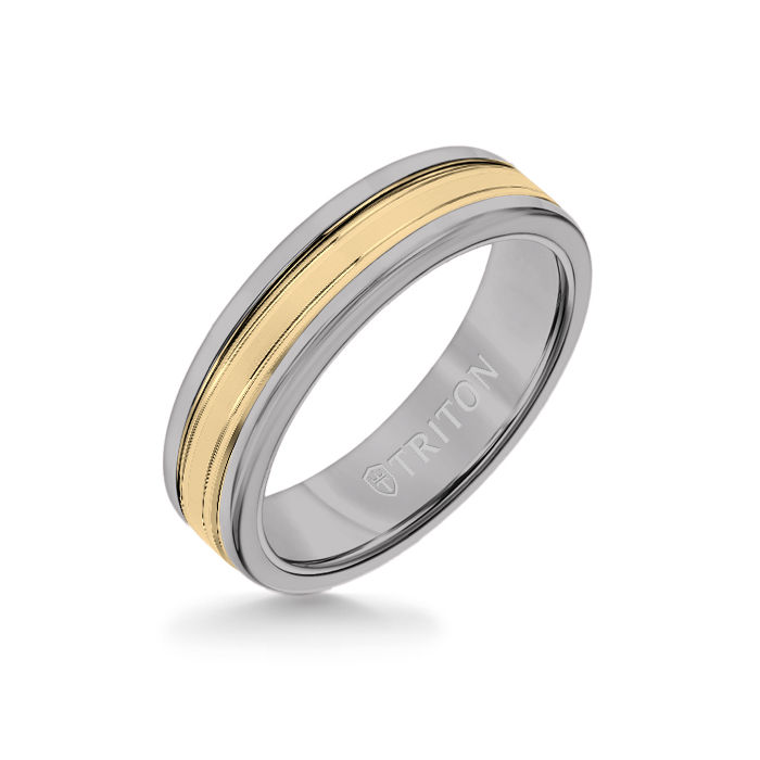 6MM Grey Tungsten Carbide Ring - Double Engraved 14K Yellow Gold Insert with Round Edge