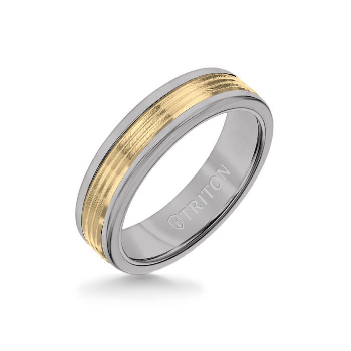 6MM Grey Tungsten Carbide Ring - Serrated Engraved 14K Yellow Gold Insert with Round Edge