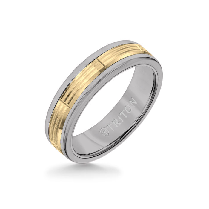 6MM Grey Tungsten Carbide Ring - Serrated Vertical Cut 14K Yellow Gold Insert with Round Edge