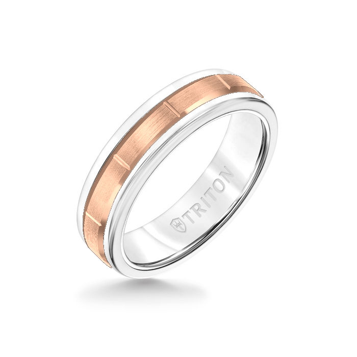 6MM White Tungsten Carbide Ring - Vertical Cut 14K Rose Gold insert with Round Edge