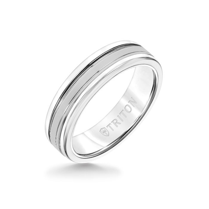 6MM White Tungsten Carbide Ring - Double Engraved 14K White Gold Insert with Round Edge