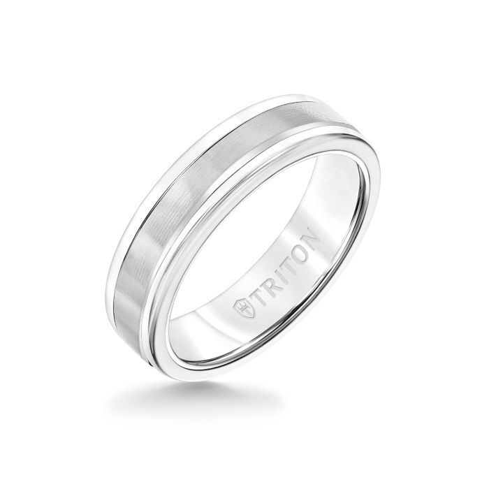 6MM White Tungsten Carbide Ring - Linear 14K White Gold Insert with Round Edge