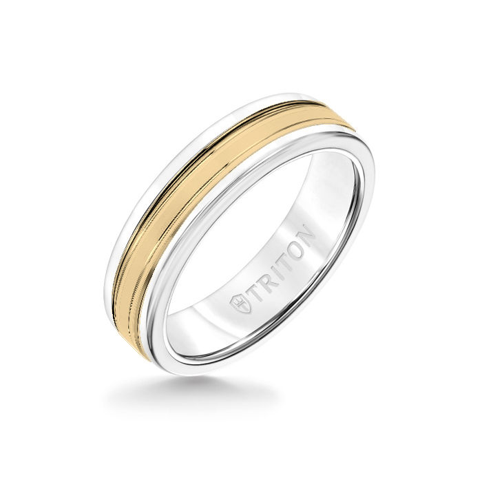 6MM White Tungsten Carbide Ring - Double Engraved 14K Yellow Gold Insert with Round Edge