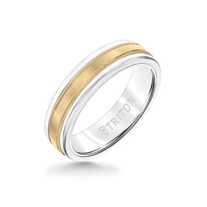 6MM White Tungsten Carbide Ring - Flat Milgrain 14K Yellow Gold Insert with Round Edge