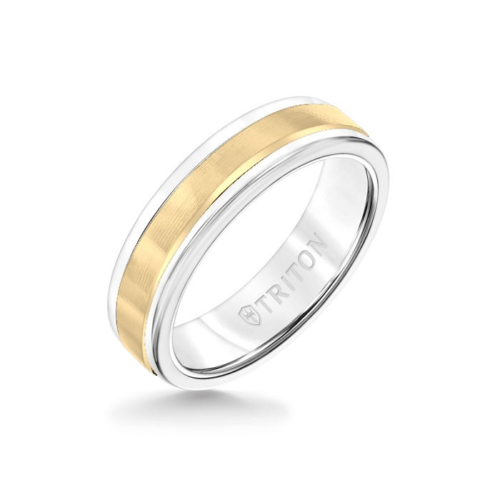 6MM White Tungsten Carbide Ring - Linear 14K Yellow Gold Insert with Round Edge