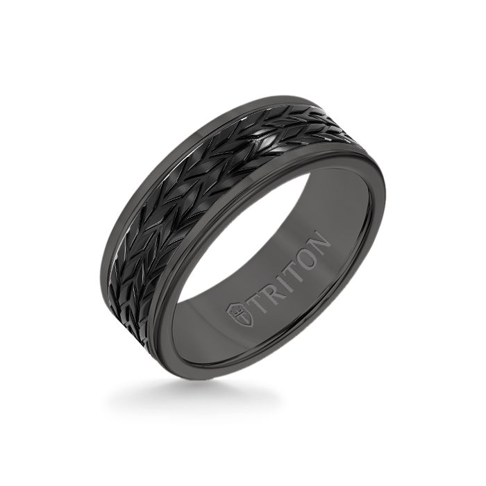 8MM Black Tungsten Carbide Ring - Tire Tread Black Titanium Insert with Round Edge