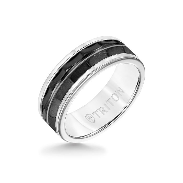 8MM White Tungsten Carbide Ring - Chevron Black Titanium Insert with Round Edge