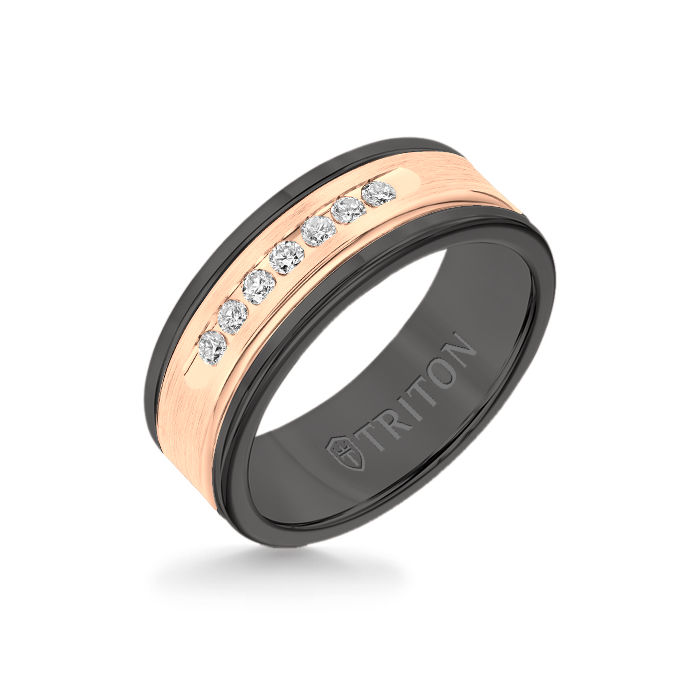 8MM Black Tungsten Carbide Ring - White Diamonds 14K Rose Gold Insert with Round Edge
