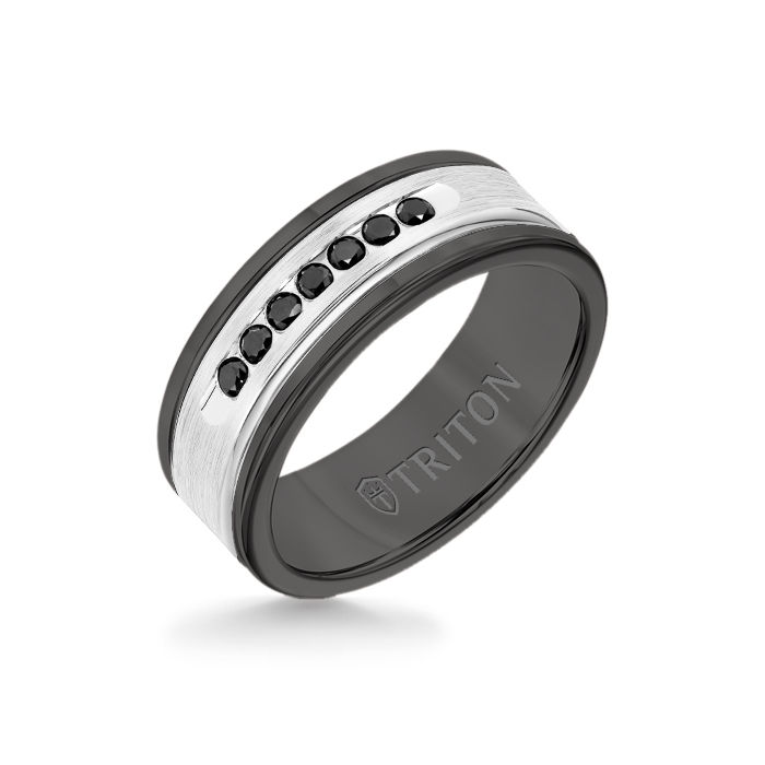 8MM Black Tungsten Carbide Ring - Black Diamonds 14K White Gold Insert with Round Edge