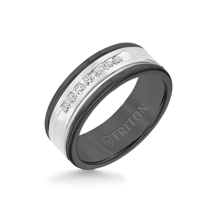 8MM Black Tungsten Carbide Ring - White Diamonds 14K White Gold Insert with Round Edge