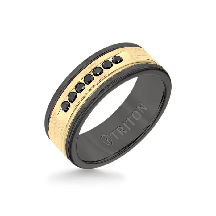 8MM Black Tungsten Carbide Ring - Black Diamonds 14K Yellow Gold Insert with Round Edge