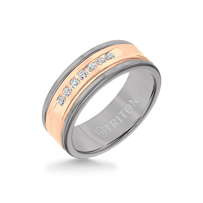 8MM Grey Tungsten Carbide Ring - White Diamonds 14K Rose Gold Insert with Round Edge