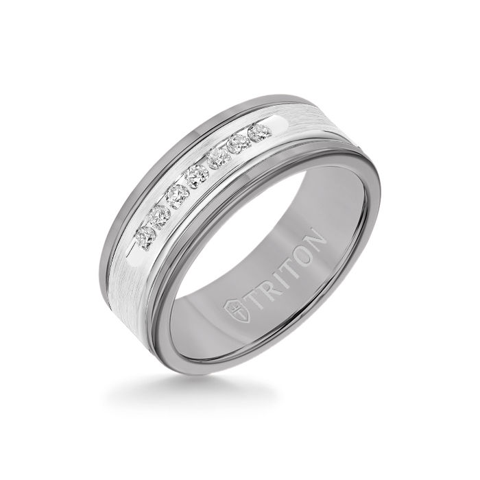 8MM Grey Tungsten Carbide Ring - White Diamonds 14K White Gold Insert with Round Edge