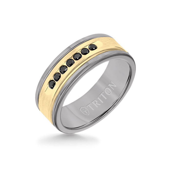 8MM Grey Tungsten Carbide Ring - Black Diamonds 14K Yellow Gold Insert with Round Edge