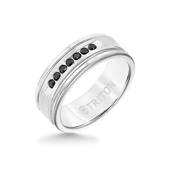 8MM White Tungsten Carbide Ring - Black Diamonds 14K White Gold Insert with Round Edge