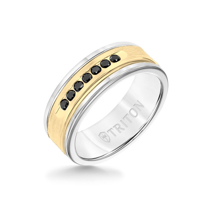 8MM White Tungsten Carbide Ring - Black Diamonds 14K Yellow Gold Insert with Round Edge
