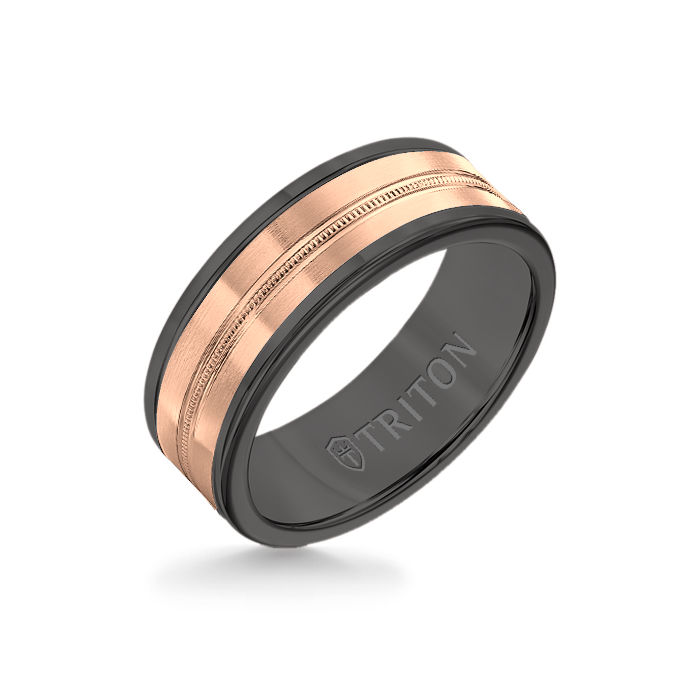 8MM Black Tungsten Carbide Ring - Center Milgrain 14K Rose Gold Insert with Round Edge