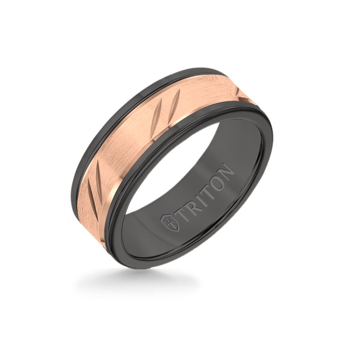 8MM Black Tungsten Carbide Ring - Bevel Diagonal Cut 14K Rose Gold Insert with Round Edge