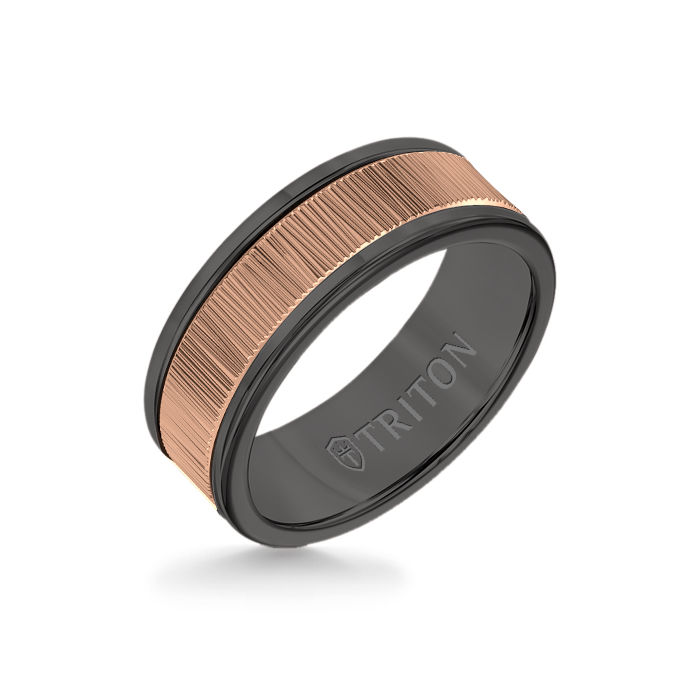 8MM Black Tungsten Carbide Ring – Vertical Geometric 14K Rose Gold Insert with Round Edge