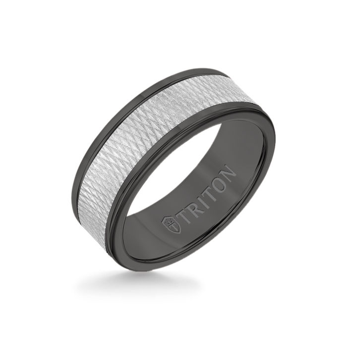 8MM Black Tungsten Carbide Ring - Criss Cross 14K White Gold Insert with Round Edge