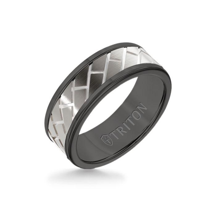 8MM Black Tungsten Carbide Ring – Diagonal Brick 14K White Gold Insert with Round Edge