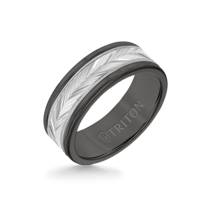 8MM Black Tungsten Carbide Ring - Herringbone 14K White Gold Insert with Round Edge