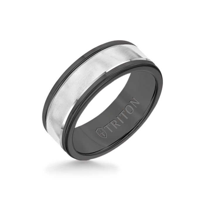 8MM Black Tungsten Carbide Ring - Linear 14K White Gold Insert with Round Edge