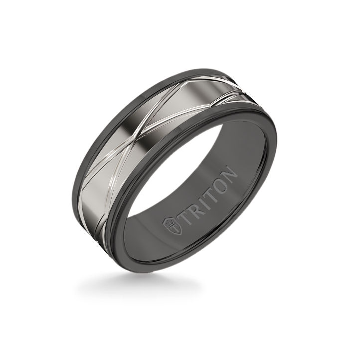 8MM Black Tungsten Carbide Ring – Oblong Infinity 14K White  Gold Insert with Round Edge