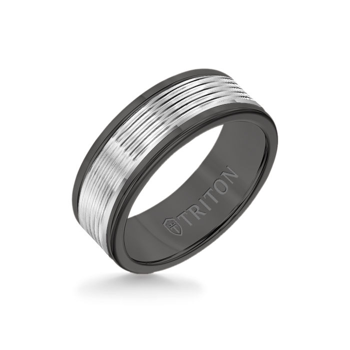 8MM Black Tungsten Carbide Ring - Serrated Engraved 14K White Insert with Round Edge