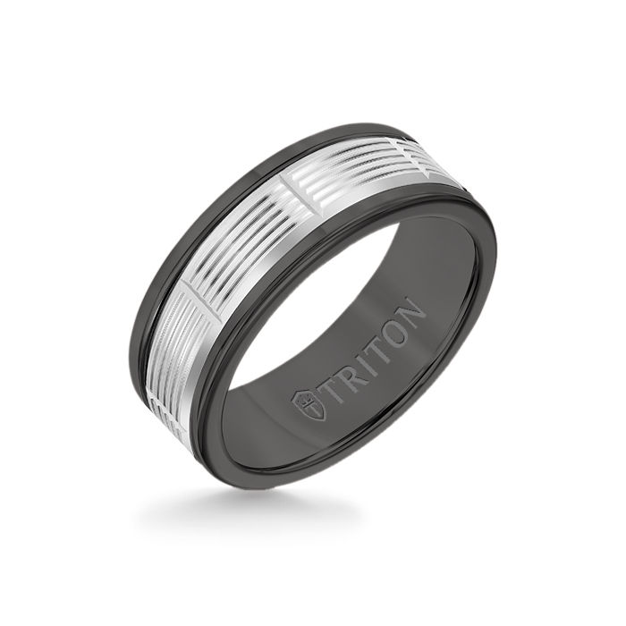8MM Black Tungsten Carbide Ring - Serrated Vertical Cut 14K White Gold Insert with Round Edge