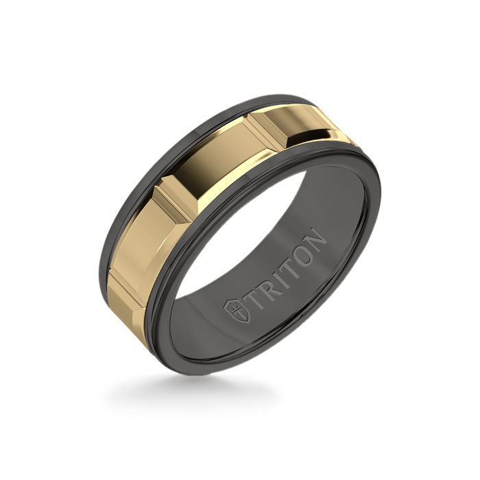 8MM Black Tungsten Carbide Ring – Beveled Prism 14K Yellow Gold Insert with Round Edge
