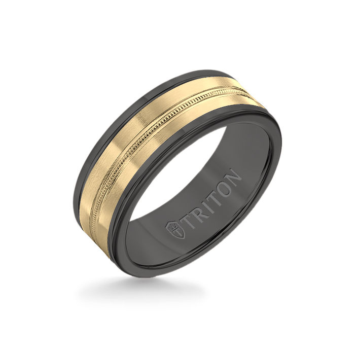 8MM Black Tungsten Carbide Ring - Center Milgrain 14K Yellow Gold Insert with Round Edge