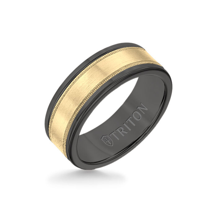 8MM Black Tungsten Carbide Ring - Flat Milgrain 14K Yellow Gold Insert with Round Edge