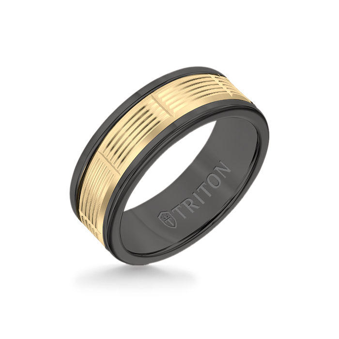 8MM Black Tungsten Carbide Ring - Serrated Vertical Cut 14K Yellow Gold Insert with Round Edge