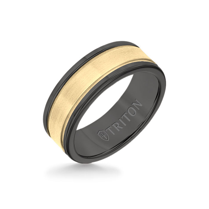 8MM Black Tungsten Carbide Ring - Step Edge 14K Yellow Gold Insert with Round Edge