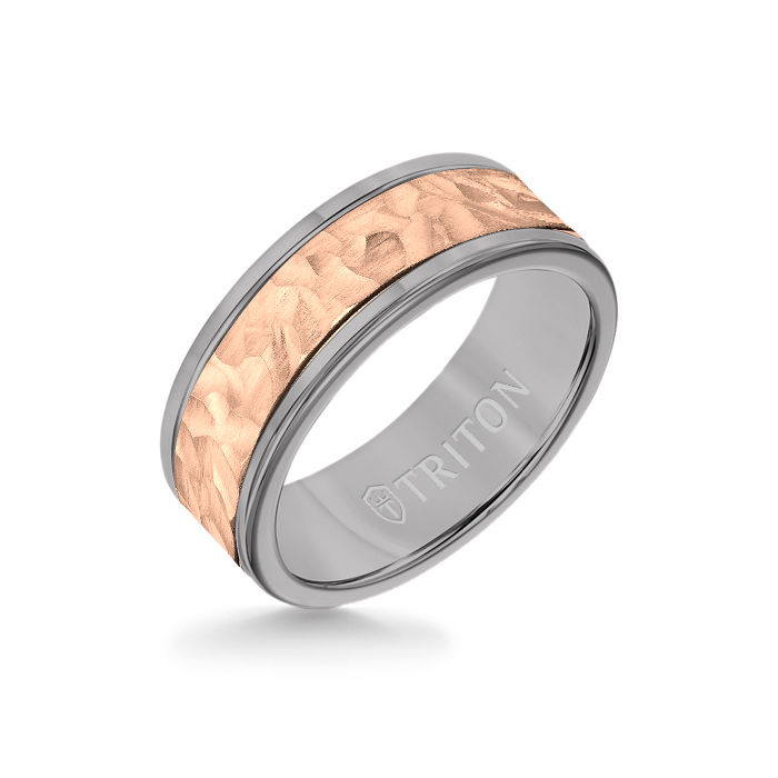 8MM Grey Tungsten Carbide Ring - Hammered 14K Rose Gold Insert with Round Edge