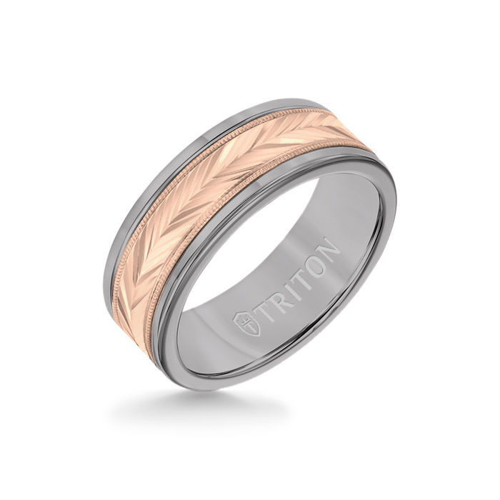 8MM Grey Tungsten Carbide Ring - Herringbone 14K Rose Gold Insert with Round Edge
