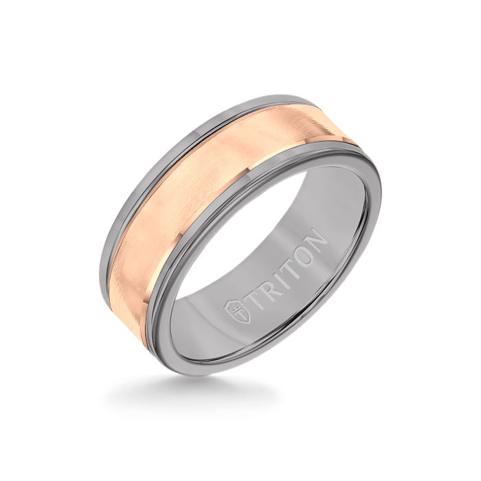 8MM Grey Tungsten Carbide Ring - Linear 14K Rose Gold Insert with Round Edge